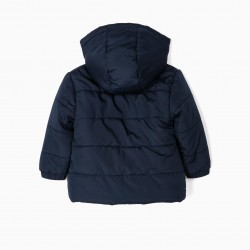 PADDED JACKET WITH HOOD FOR BABY BOY, DARK BLUE