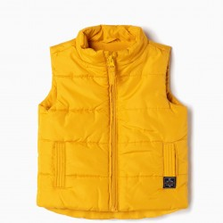 PADDED VEST FOR BABY BOY, YELLOW