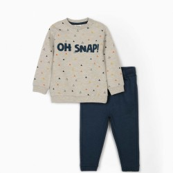 'OH SNAP!' BABY BOY TRACKSUIT, GRAY / BLUE