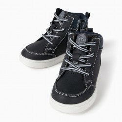 HIGH TOP SNEAKERS FOR BABY BOY, DARK BLUE