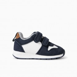 BABY BOY SHOES WITH DOUBLE VELCRO, DARK BLUE / WHITE