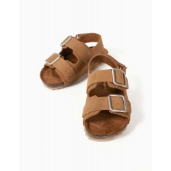 LEATHER SANDALS FOR BABY BOY, CAMEL