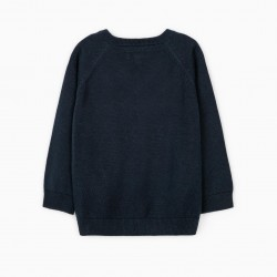 KNITTED SWEATER FOR BABY BOY, DARK BLUE