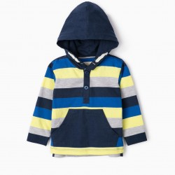 BABY BOY LONG SLEEVE HOODED T-SHIRT, MULTICOLOR