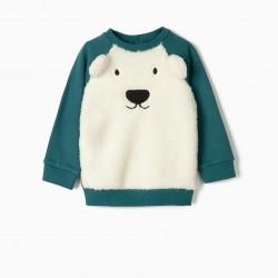 'CUTE BEAR' BABY SWEATSHIRT, WHITE / BLUE
