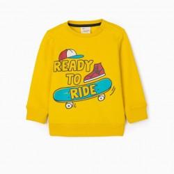 'READY TO RIDE' BABY BOY SWEATSHIRT, YELLOW