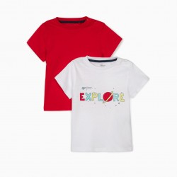 2 T-SHIRTS FOR BABY BOY 'EXPLORE', WHITE / RED