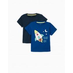 2 T-SHIRTS FOR BABY BOY 'BLAST OFF', BLUE / DARK BLUE
