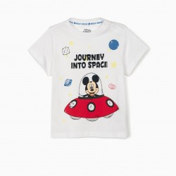 BABY BOY T-SHIRT 'MICKEY INTO SPACE', WHITE