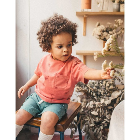 BABY BOY T-SHIRT 'PALM TREES', CORAL