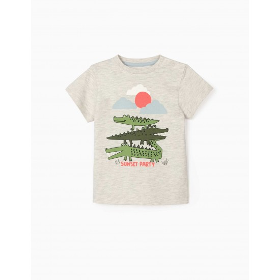 SUNSET PARTY' BABY BOY T-SHIRT, MIXED GRAY