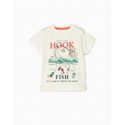 HOOK FISH BABY BOY T-SHIRT, WHITE