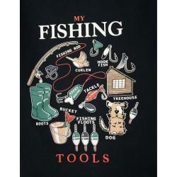 T-SHIRT FOR BABY BOY 'FISHING TOOLS', DARK BLUE