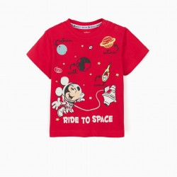 BABY BOY T-SHIRT 'MICKEY IN SPACE', RED