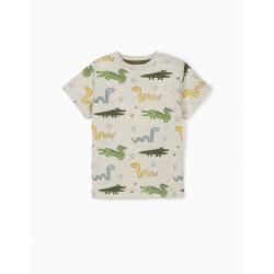 T-SHIRT FOR BABY BOY 'WILD ANIMALS', MIXED GRAY