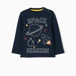 LONG SLEEVE BABY T-SHIRT 'SPACE', DARK BLUE