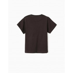 T-SHIRT FOR BABY BOY 'FAR OUT', DARK GRAY