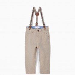 BABY BOY CHINO PANTS WITH BRACES, BEIGE