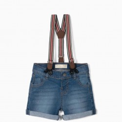 DENIM SHORTS WITH BRACES FOR BABY BOY, BLUE