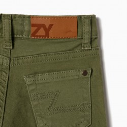 TWILL PANTS FOR BABY BOY, GREEN