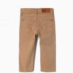 TWILL PANTS FOR BABY BOY, LIGHT BROWN