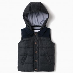 PADDED VEST FOR BABY BOY WITH HOOD, DARK BLUE