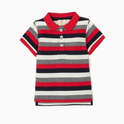 STRIPED POLO FOR BABY BOY, BLUE / WHITE / RED