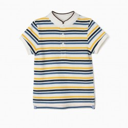 POLO FOR BABY BOY WITH MAO COLLAR AND STRIPES, WHITE AND BLUE