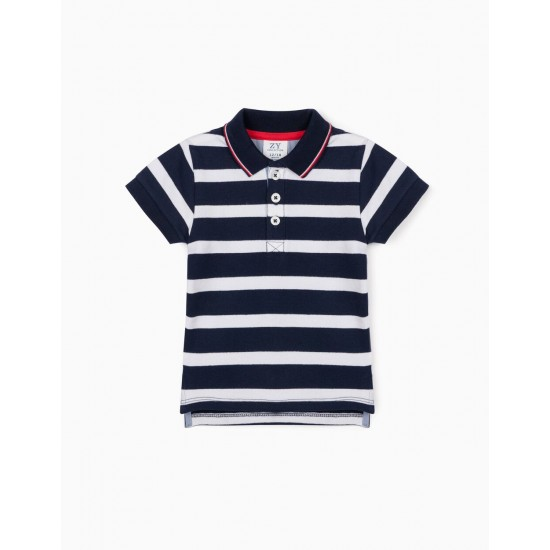 SHORT SLEEVE POLO SHIRT FOR BABY BOY, BLUE / WHITE