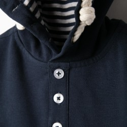 LONG SLEEVE POLO FOR BABY BOY WITH HOOD, BLUE