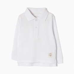 LONG SLEEVE POLO FOR BABY BOY, WHITE