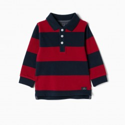 POLO FOR BABY BOY 'STRIPES', BLUE AND RED