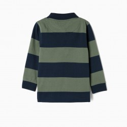 LONG SLEEVE STRIPED POLO FOR BABY BOY, BLUE AND GREEN