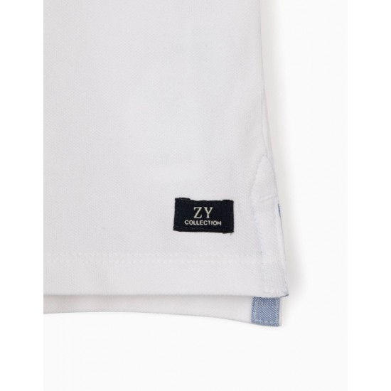 SHORT SLEEVE POLO SHIRT FOR BABY BOY, WHITE