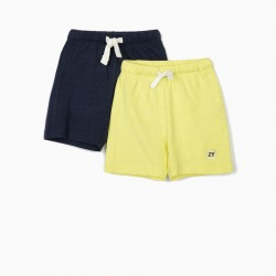2 JERSEY SHORTS FOR BABY BOY, DARK BLUE / LIME YELLOW