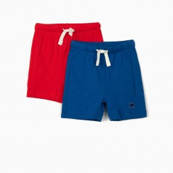 2 BABY BOY SHORTS, RED / BLUE