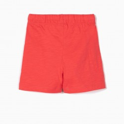 2 BABY BOY'S SPORTS SHORTS, RED AND GRAY