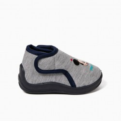 GRAY MICKEY HOUSE SLIPPERS
