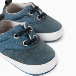 FABRIC NEWBORN SNEAKERS, BLUE