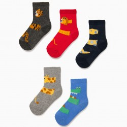 5 PAIRS SOCKS FOR BABY BOY 'ANIMALS', MULTICOLOR