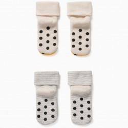 2 PAIRS 'GIRAFFE' NON-SLIP BABY SOCKS, BEIGE