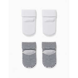 2 PAIRS OF 'DAD' BABY BOY SOCKS, GRAY / BLUE / WHITE