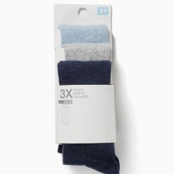 3 MESH TIGHTS FOR NEWBORN, BLUE AND GRAY