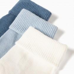 3 PAIRS OF BABY FOLDED SOCKS, BLUE / WHITE