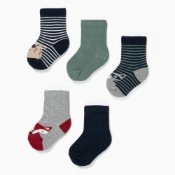 5 PAIRS SOCKS FOR BABY BOY 'STRIPES AND ANIMALS', MULTICOLOR