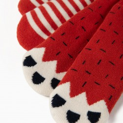 2 PAIRS NON-SLIP SOCKS FOR BABY BOY, RED