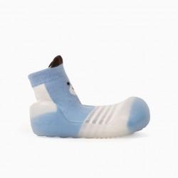 NON-SLIP SLIPPERS SOCKS FOR BABIES 'CUTE BEAR', BLUE/WHITE