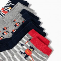 5 PAIRS OF BABY SOCKS 'ROYAL GUARDS', MULTICOLOR
