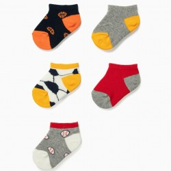 5 PAIRS OF SHORT SOCKS FOR BABY BOY 'SPORTS', MULTICOLOR