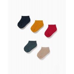 5 PAIRS OF RIB KNIT ANKLE SOCKS FOR BABIES, MULTICOLOURED